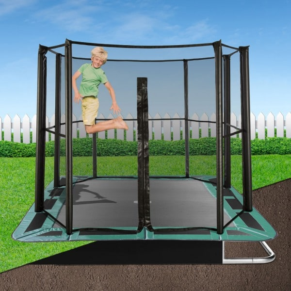 14' X 10' Rectangle In-Ground Trampoline Full Enclosure