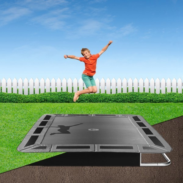 Grey rectangular 14ft by 10ft in-ground trampoline