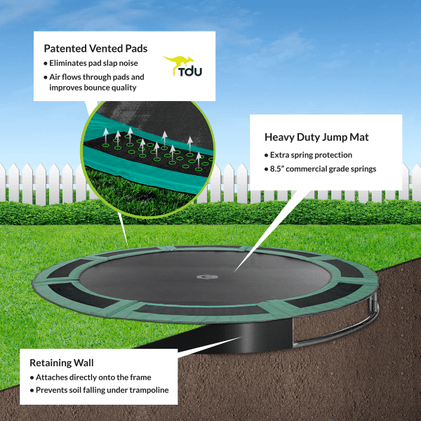 14ft Round In-Ground Trampoline Kit In Green