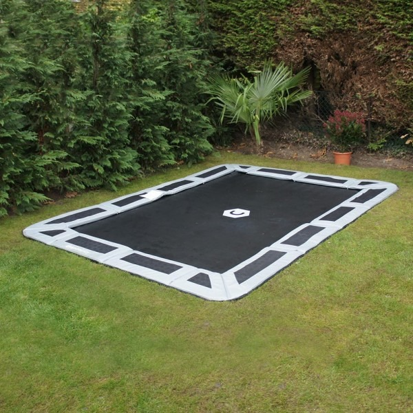 14ft x10ft Capital Play Rectangular In-Ground Trampoline In Gray