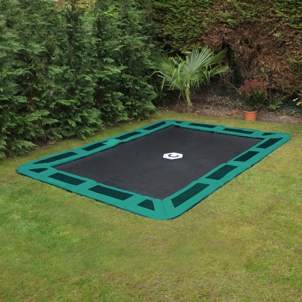 14ft x10ft Capital Play Rectangular In-Ground Trampoline In Green